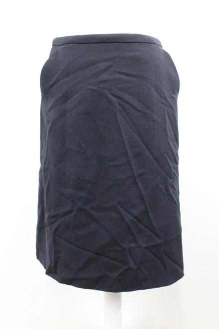 ARMANI Ladies Navy Blue Wool Fully Lined Knee Length Straight Skirt IT42 UK10
