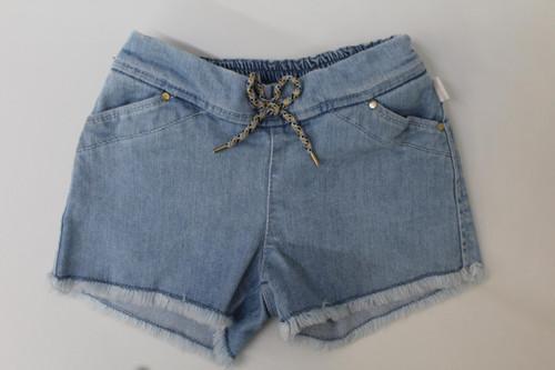CHLOE Girls Light Blue Cotton Fringed Hem Tie Waist Beach Shorts Size 4Y NEW