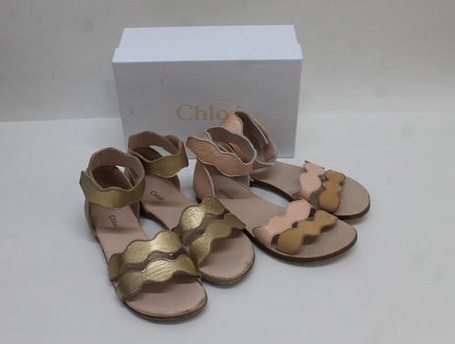 CHLOE Girls Gold Leather Double Scallop Trim Strap Flat Sandals Bundle UK12 EU30