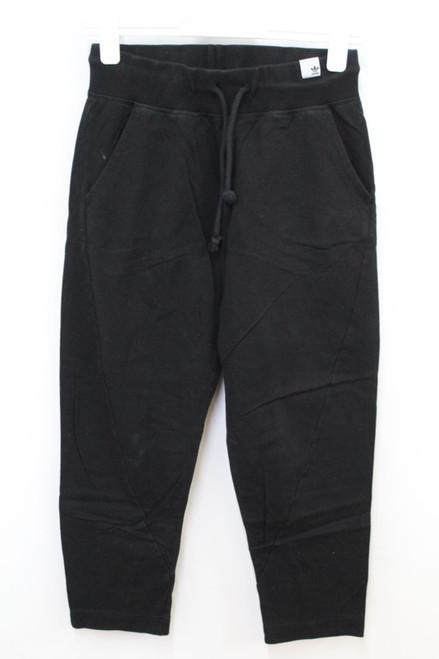 ADIDAS Ladies Black Cotton High Waist Activewear Jogger Trousers Size UK6