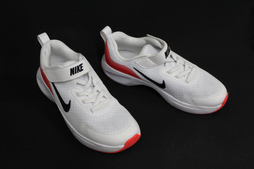 NIKE Boys White Red WearAllDay Lightweight Mesh Lace & Strap Trainers UK2 EU34