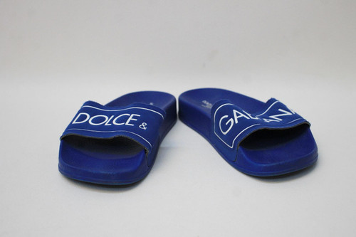 DOLCE & GABBANA Bambino Boys Dark Blue White Logo Flip Flops Size EU31-32
