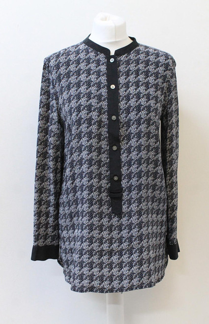 MARC JACOBS Ladies Blue Silk Houndstooth Print Long Sleeve Buttoned Blouse M