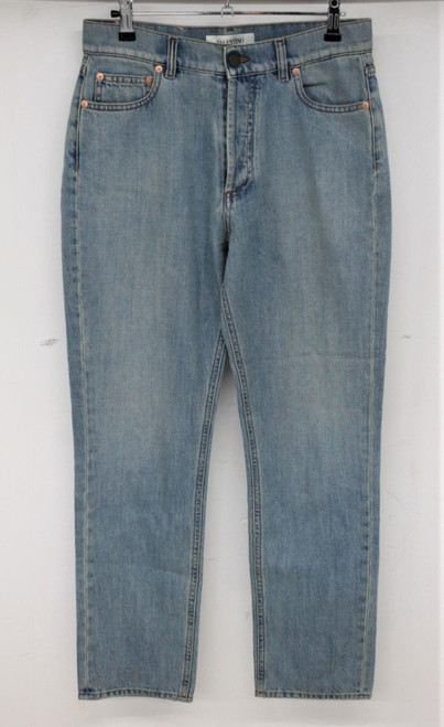VALENTINO Ladies Pale Blue Cotton Button Fly Pink Patch Jeans Size 27 W28 L28