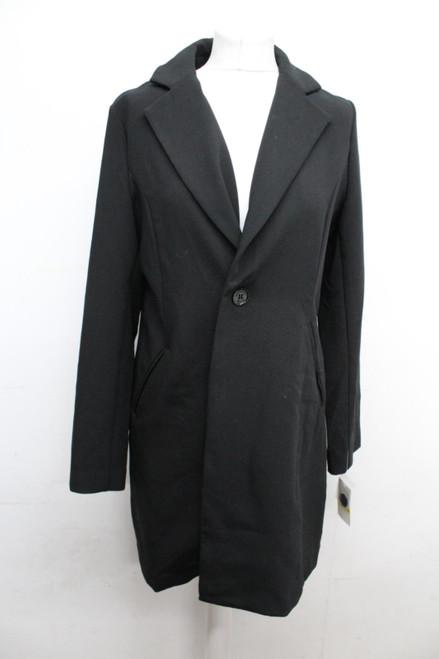 MICHAEL KORS Ladies Black Narrow Lapel Button Down Winter Overcoat Medium NEW