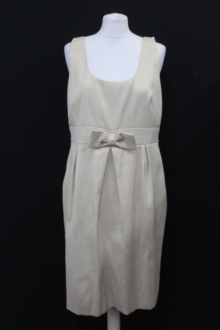 L.K.BENNETT Ladies Beige Sleeveless Knit Scoop Neck Zip Up Shift Dress UK16