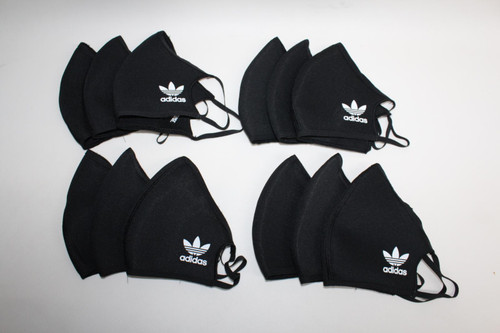 ADIDAS Black & White Face Mask Washable Reusable Cover M/L Pack Of 12 NEW