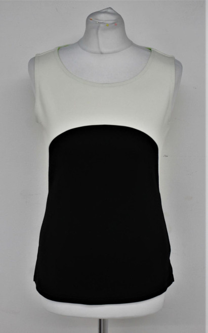 KAREN MILLEN Ladies Black & White Sleeveless Green Trim Boat Neck Top UK12