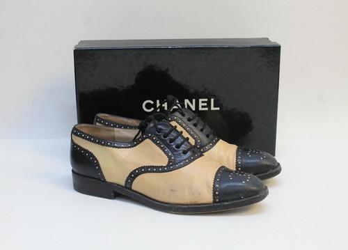 CHANEL Ladies Black Beige Leather Colour Block Lace Up Brogue Shoes UK5 EU38