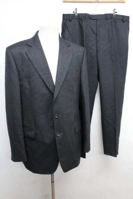 AQUASCUTUM Men's Grey Wool Narrow Lapel Single Breasted Buttoned Suit Size 42R