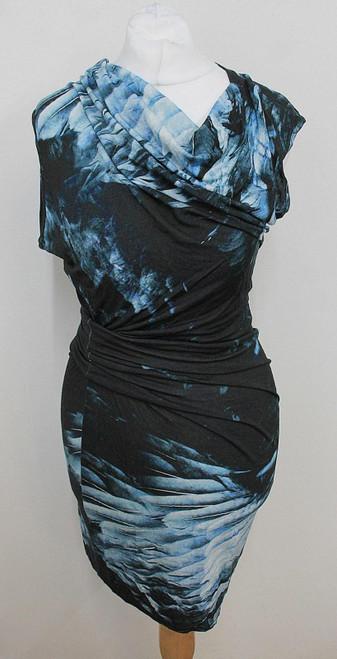 HELMUT LANG Ladies Navy Blue Abstract Print Asymmetric Bodycon Dress Size P/UK6