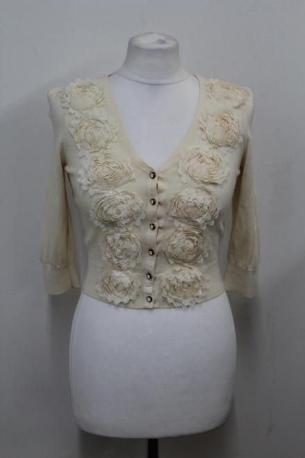 TED BAKER Ladies Beige Cotton 3/4 Sleeve Floral Applique Cardigan Size 0/UK6