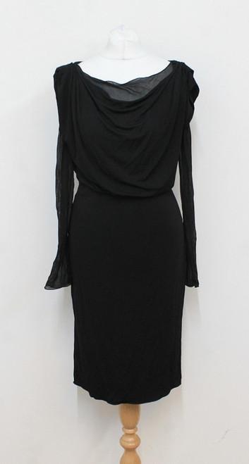 ARMANI Ladies Black Cowl Neck Sheer Sleeve Knee Length Dress UK8 IT40 US4