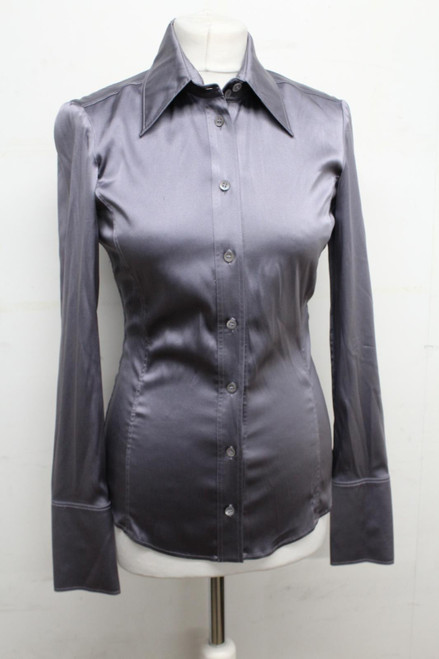 GUCCI Ladies Purple Silk Collared Long Sleeve Button Up Shirt Top IT40 UK8