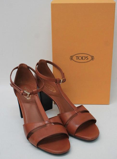 TOD'S Ladies Rust Brown Leather Block Heel Ankle Strap Sandals EU39 UK6 NEW