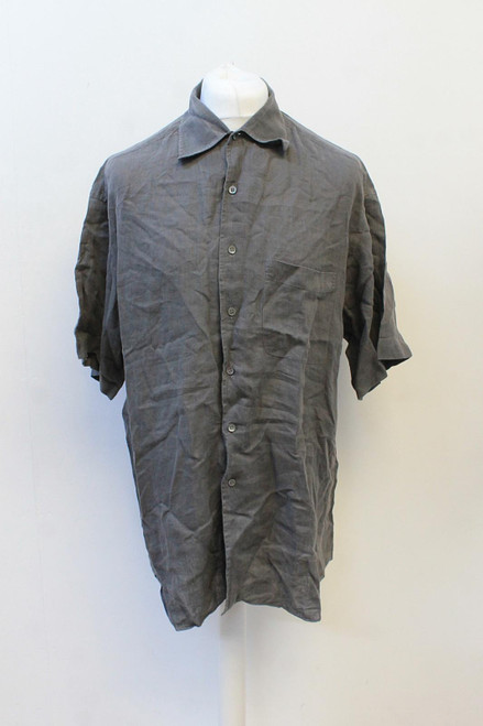 ERMENEGILDO ZEGNA Men's Grey Collared Short Sleeve Linen Casual Shirt XXL