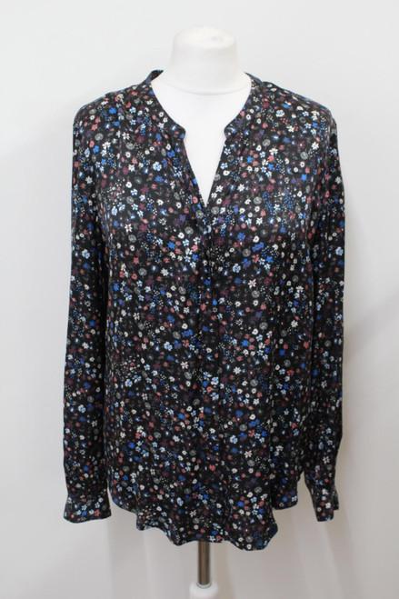 HUGO BOSS Ladies Black Silk Blend Long Sleeve Floral Print Buttoned Blouse UK8