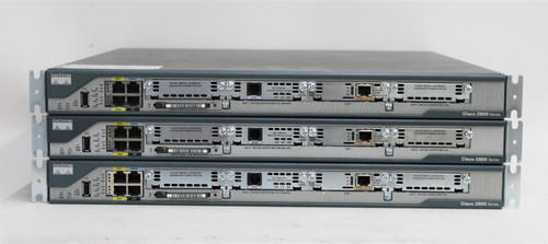 3x CISCO 2801 Rack Mounted Integrated Service Network Routers RJ45 USB-A