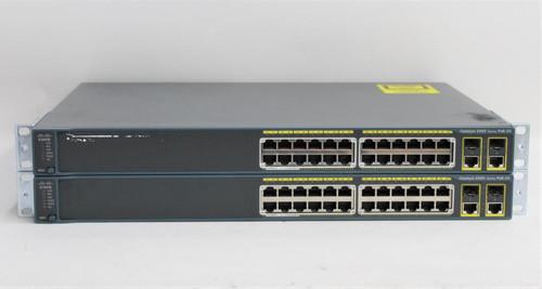 2x CISCO Catalyst 2960 Series PoE-24 Port Ethernet Gigabit Network Switch Hubs