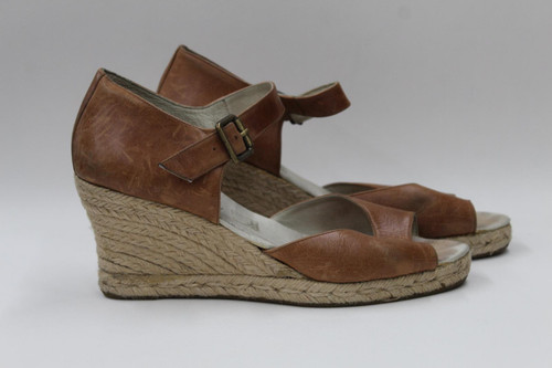 RUSSELL & BROMLEY Ladies Tan Brown Leather Espadrille Wedge Shoes UK8 EU41