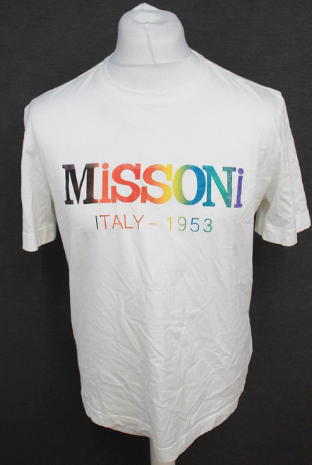 MISSONI Men's White Cotton Short Sleeve Rainbow Pride Logo T-Shirt Size S