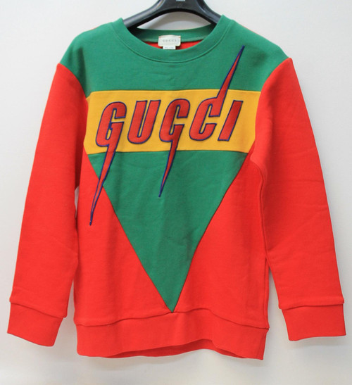 GUCCI KIDS Boy's Red Green Yellow Embroidery Blade Sweatshirt Size 10 Years