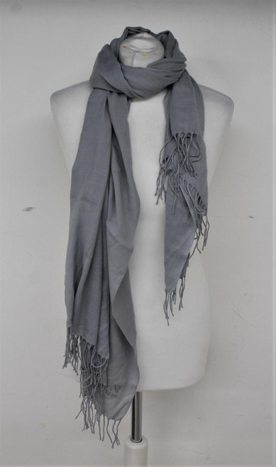 ARMANI Ladies Grey Tasselled Ends Collezioni Scarf 173cm x 25cm One Size