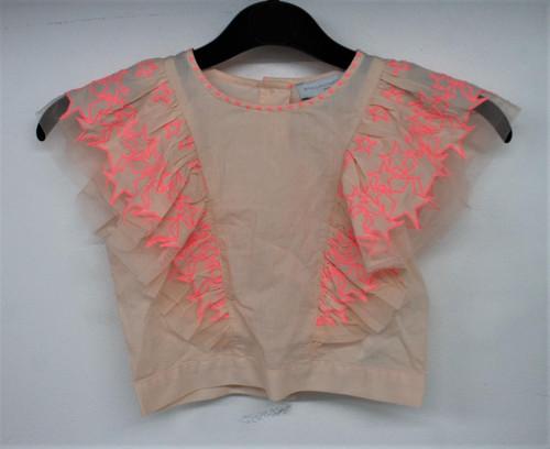 STELLA MCCARTNEY Girls Pink 100% Cotton Sleeveless Back Button Top Size 6 Years