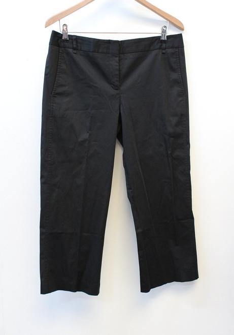 BCBG MAX AZRIA Ladies Mariam Black Stretch Cotton Cropped Trousers M W34 L23