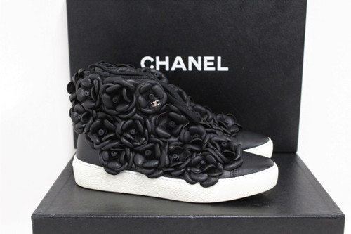 CHANEL Ladies Black Leather CC Camellia High Top Sneakers UK3.5 EU36.5 NEW