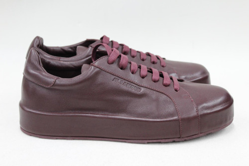 JIL SANDER Ladies Burgundy Red Round Toe Lace Up Leather Trainers UK3 EU36 NEW
