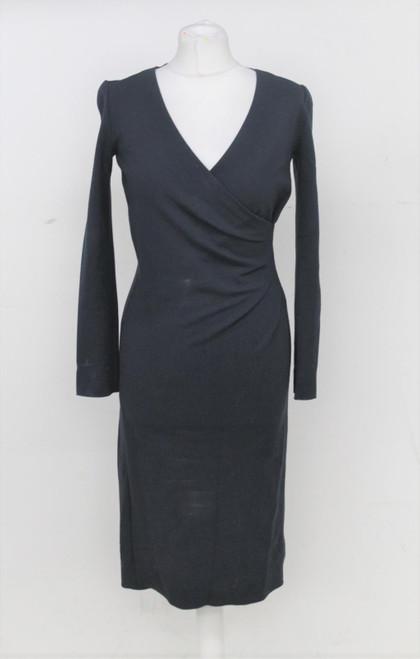ARMANI Ladies Navy Blue Long Sleeve Gathered Detail V-Neck Shift Dress IT40 UK8