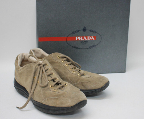 PRADA Ladies Bamboo Beige Suede Scamosciato Lace Up Trainers Size EU40 UK7