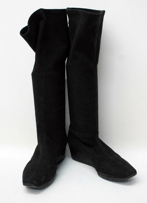 SALVATORE FERRAGAMO Ladies Black Suede Knee High Wedge Boots Size US9 UK7