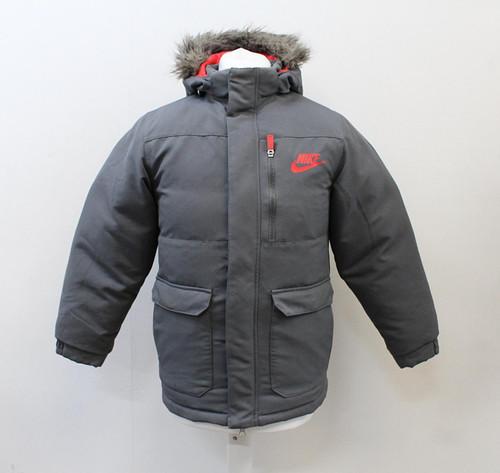 NIKE Boys Grey Faux Fur Trim Hood Long Sleeve Padded Down Jacket L 12-13 Yrs.