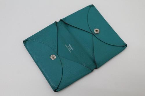 HERMES Ladies Vert Bosphore Green Leather Bifold Calvi Card Holder One Size