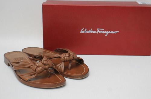 SALVTORE FERRAGAMO Ladies Tan Brown Leather Pekin Flat Sandal Shoes US7 UK5