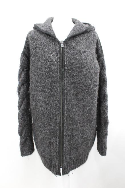 ISABEL MARANT Ladies Charcoal Grey Long Sleeve Hooded Wool Zip-Up Jacket XS