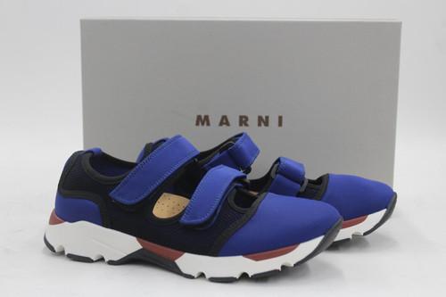 MARNI Ladies Blue Multi Fabric Double Strap Sneaker Trainers EU37 UK4 BNWT