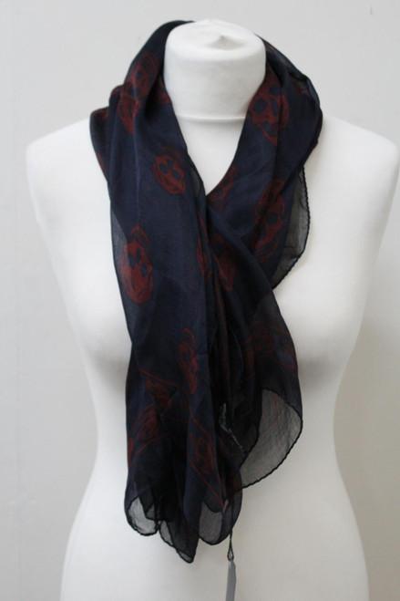 "ALEXANDER MCQUEEN Ladies Navy Blue Red Silk Skull Print Scarf 48x42"" NEW"