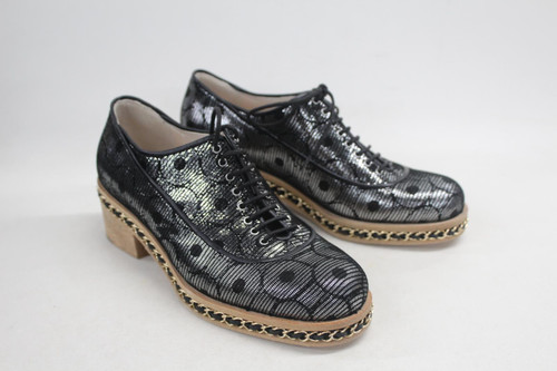 CHANEL Ladies Metallic Silver Calfskin Lace Up Chain Oxford Boots EU37 UK4