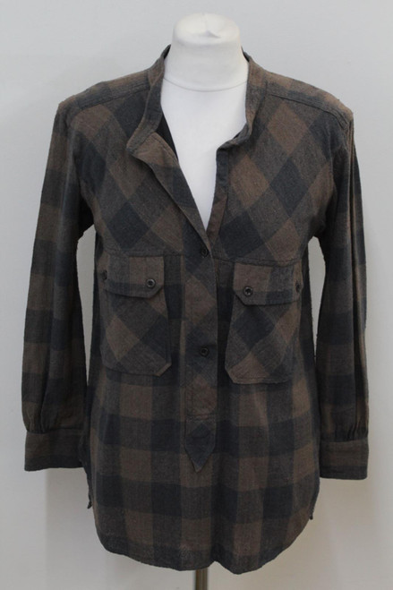 ISABEL MARANT Ladies Brown Plaid Check Silk Henley Neck Shirt Top Size 0 UK8