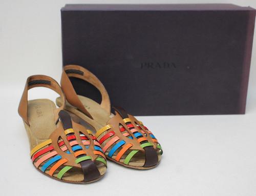 PRADA Ladies Brown Leather Strappy Kitten Heel Sandal Shoes Size EU35 UK2