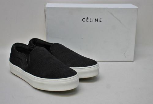 CELINE Ladies Black Pony Hair Slip-On Round Toe Trainer Shoes Size EU36.5 UK3.5
