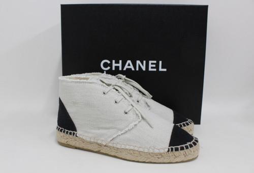 CHANEL Ladies Beige Canvas Lace Up Hi Top Espadrille Sneakers UK3.5 EU36 NEW