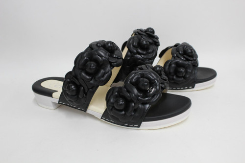 CHANEL Ladies Black Lambskin Leather Camelia Open Toe Sandals UK3 EU36 NEW