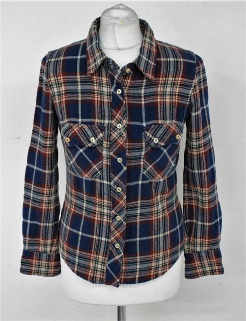 ISABEL MARANT Ladies Blue & Brown Cotton Blend Collared Flannel Shirt Size XS
