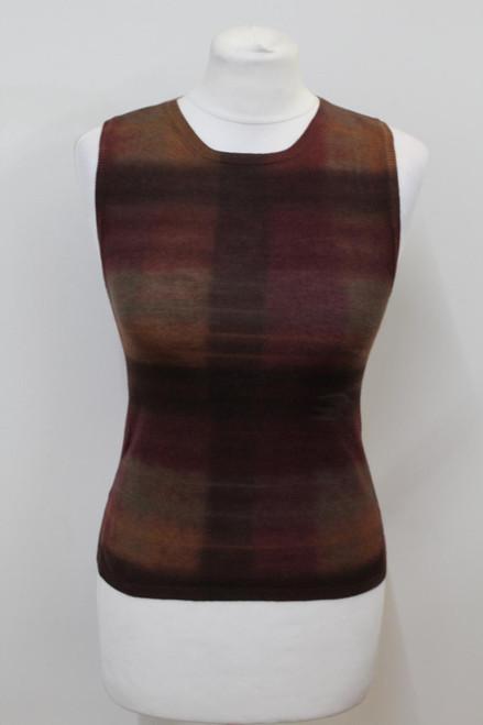 PRADA Ladies Brown Wool Silk Sleeveless Round Neck Tank Top IT38 UK6 NEW