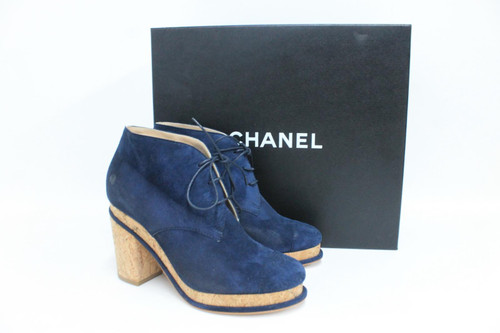 CHANEL Ladies Navy Blue Suede Lace Up Cork Block Heel Ankle Boots UK4 EU37