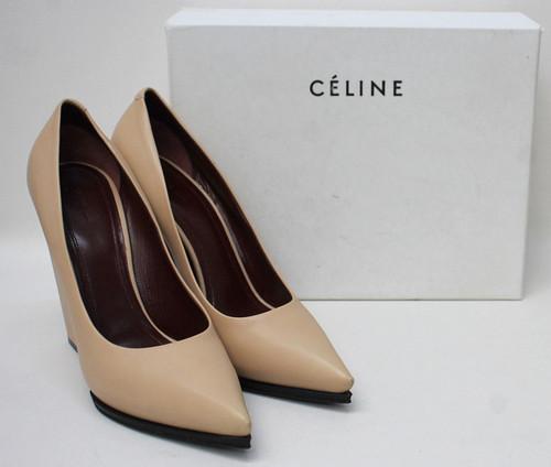CELINE Ladies Nude Leather Wedge Block Heel Court Shoes EU40.5 UK7.5 NEW
